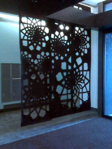 Laser cut thick felt divider panels.