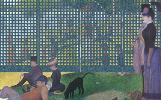 Georges Seurat  A Sunday Afternoon on the Island of La Grande Jatte, 1884–86, oil on canvas with Circles M, Jolly Jade Laser Felt Eco panels